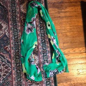 J Crew green floral scarf